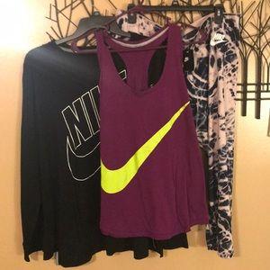 Nike workout Bundle capris (NWT) tank & tee (used)